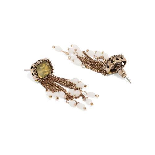 DressBerry Yellow Geometric Tasselled Drop Earrings