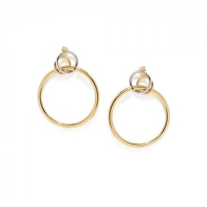 DressBerry Gold-Toned Circular Drop Earrings