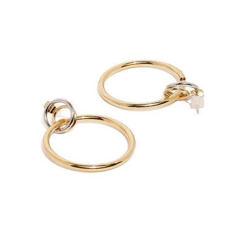 DressBerry Gold-Toned Circular Drop Earrings