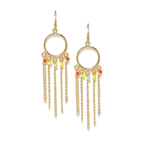 DressBerry Gold-Toned Beaded Circular Drop Earrings