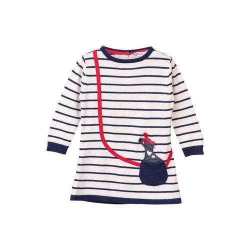 Beebay Girls Navy Blue & White Striped Pullover