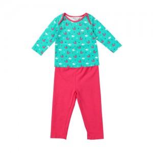 Beebay Girls Green & Pink Printed Clothing Set
