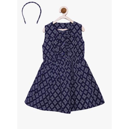 Bella Moda Navy Blue Printed Casual Dress