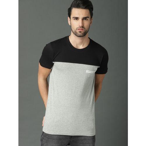 Roadster Men Grey & Black Colourblocked T-shirt
