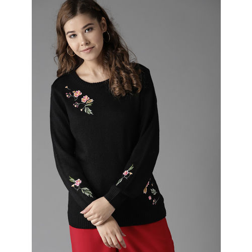 HERE&NOW Women Black Embroidered Detail Pullover