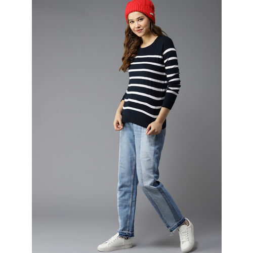 HERE&NOW Women Navy Blue & White Striped Pullover