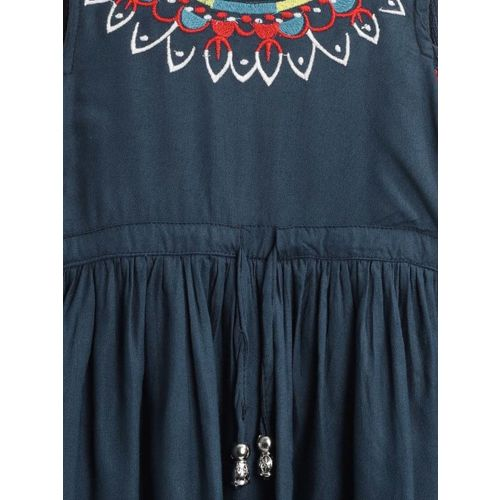 Bella Moda Girls Mini/Short Casual Dress(Blue, 3/4 Sleeve)