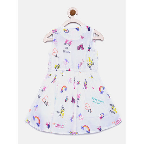 Bella Moda White Fit & Flare Cotton Casual Round Neck Printed Knee Length Sleeveless Woven Floral Dress for Girls_(OM1267)