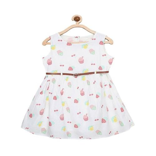 Bella Moda Girls White Color Round Neck Printed Fit & Flare Dress_(OM1194)