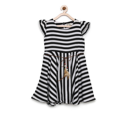 Bella Moda Girls White Striped Fit and Flare Dress