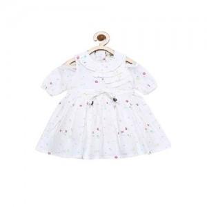 Bella Moda Girls White Printed Fit & Flare Dress_(OM1026)