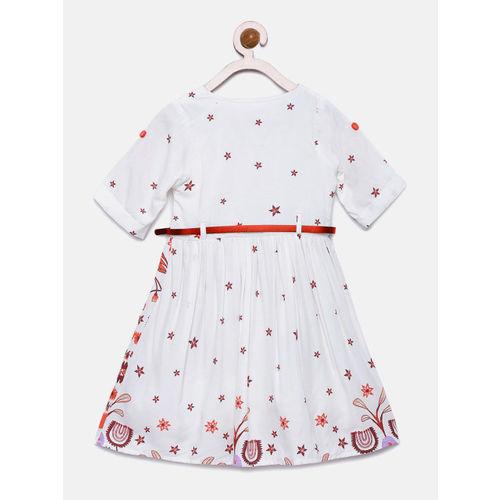 Bella Moda White Printed Casual Dress