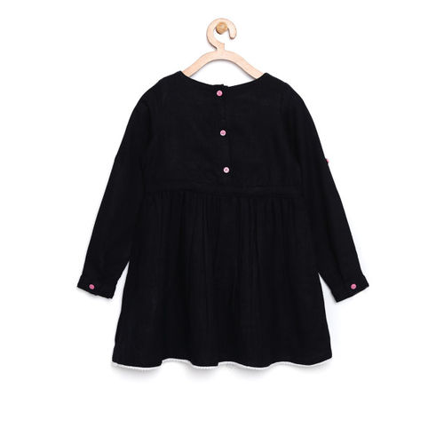 Bella Moda Kids Black Embroidered Dress