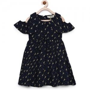 Bella Moda Girls Black Printed Fit & Flare Dress_(OM964)