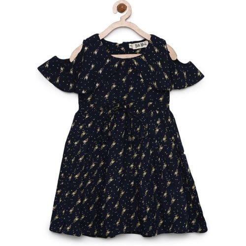 Bella Moda Girls Black Printed Fit & Flare Dress_(OM964)