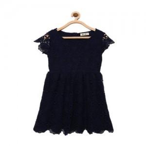 Bella Moda Girls Midi/Knee Length Casual Dress(Black, Sleeveless)