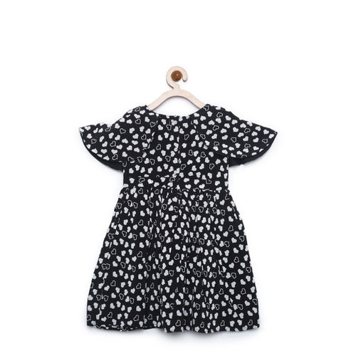 Bella Moda Girls Black Printed Fit & Flare Dress with Knee Length Round Neck Short Sleeves (OM1158)
