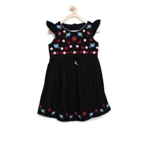Bella Moda Girls Black Printed Fit and Flare Dress