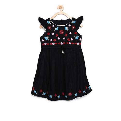 Bella Moda Girls Black Printed Fit and Flare Dress