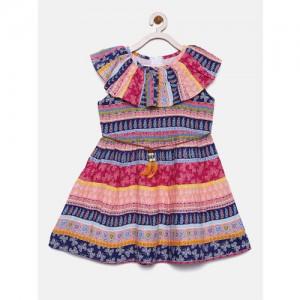Bella Moda Girls Yellow Printed Fit & Flare Dress(SV109D82)