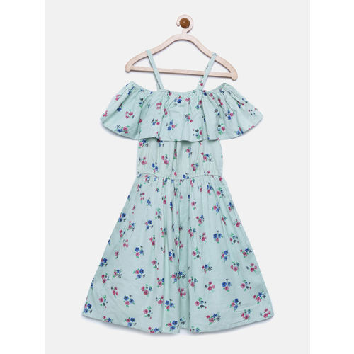 Bella Moda Green Fit & Flare Cotton Casual Round Neck Printed Knee Length Sleeveless Woven Floral Dress for Girls_(OM1248)