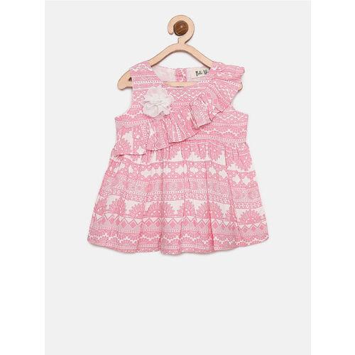 Bella Moda Girls Pink Color Round Neck Printed Fit & Flare Dress_(OM1187)