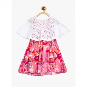 Bella Moda Kids Pink & White Printed Dress With Cape