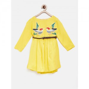 Bella Moda Yellow Printed Casual Dress