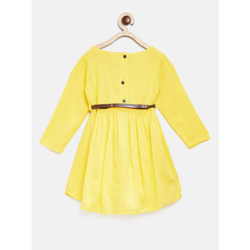 Bella Moda Yellow Printed Casual Dress