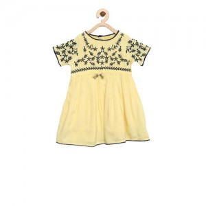 Bella Moda Yellow Casual Cotton Half Sleeve Midi/Knee Length Fusion Wear A- Line Dress for 3-6 Months Old Girls (OM968)
