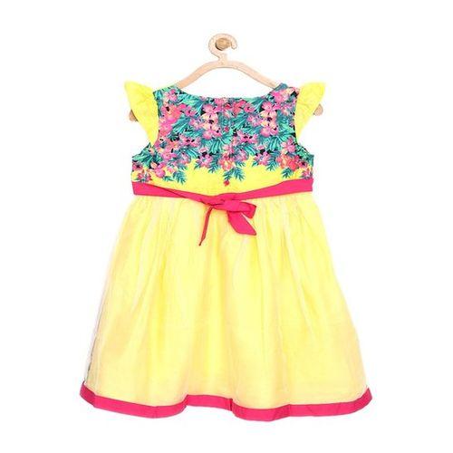 Bella Moda Kids Yellow Printed Dress