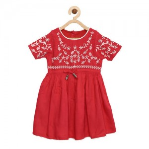 Bella Moda Girls Red Solid Fit and Flare Dress