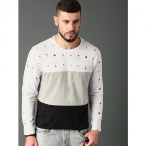 Roadster Men White & Grey Colourblocked Round Neck T-Shirt