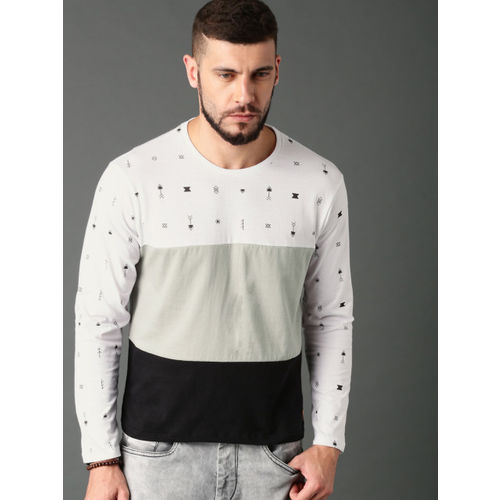 Roadster Men White & Grey Colourblocked Round Neck T-Shirt
