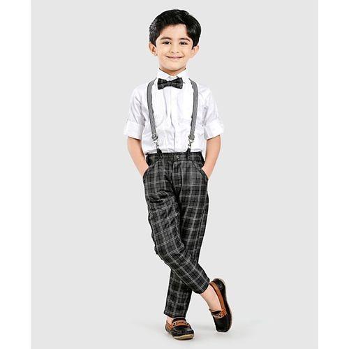 Dapper Dudes White 2 Piece Party Wear Suit With Suspender & Bow