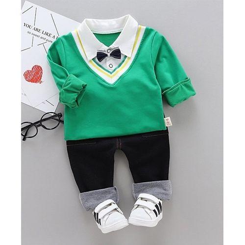 Green Full Sleeves Bow Applique Shirt & Bottom Set