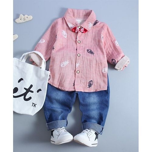 Pink Fish Skeleton Print Full Sleeves Shirt With Bow Detailing & Bottom Set