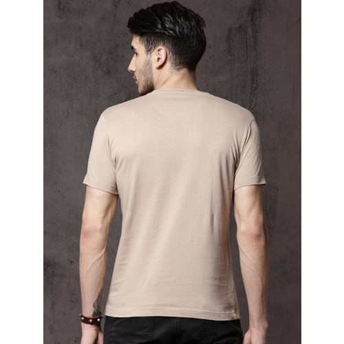 Roadster Men Beige Printed Round Neck T-shirt