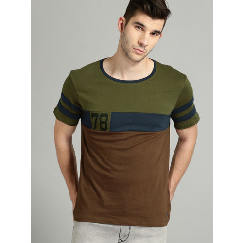 Roadster Men Brown & Olive Green Colourblocked Round Neck T-shirt