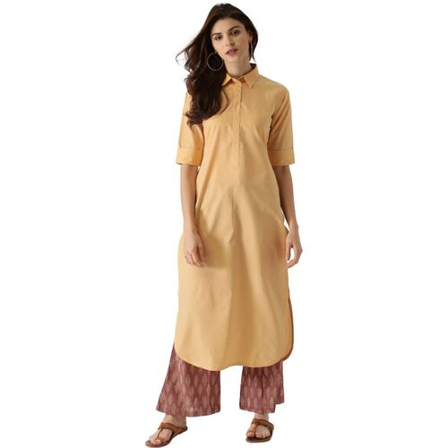 9cc0d165215 Buy Libas Women s Solid Pathani Kurta(Yellow) online