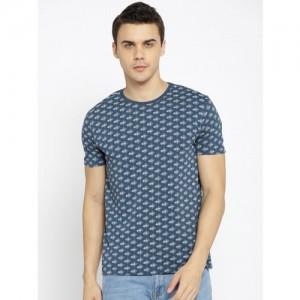 Lee Men Navy Blue Printed Round Neck Slim Fit T-shirt