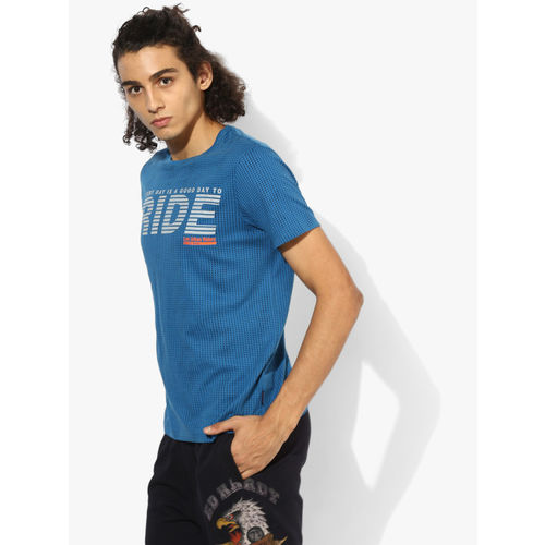 Lee Blue Printed Slim Fit Round Neck T-Shirt