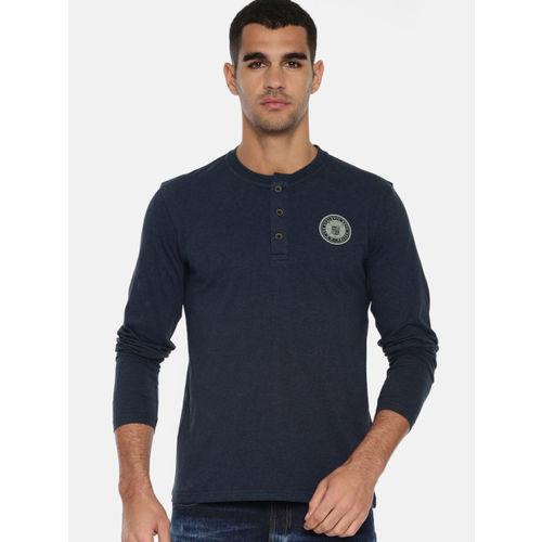 Lee Men Navy Blue Solid Henley Neck T-shirt