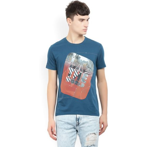 Lee Printed Men's Round Neck Blue T-Shirt