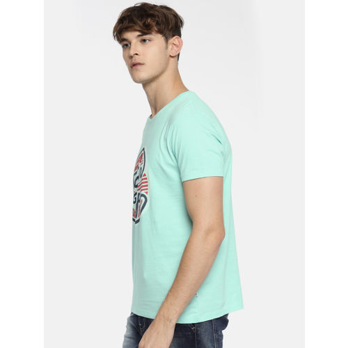 Lee Men Sea Green Printed Round Neck T-shirt