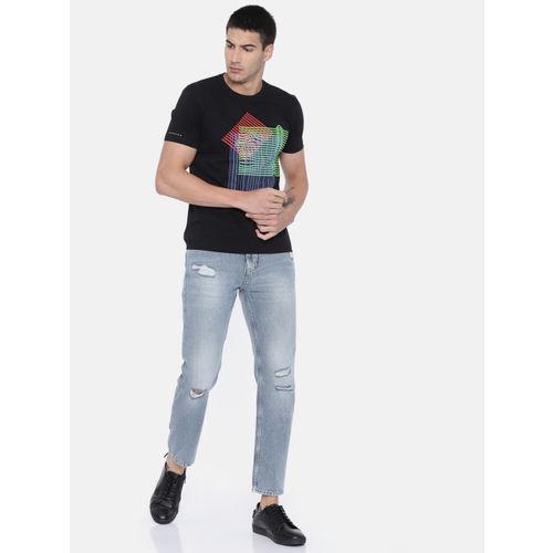 Lee Men Black Printed Round Neck T-shirt
