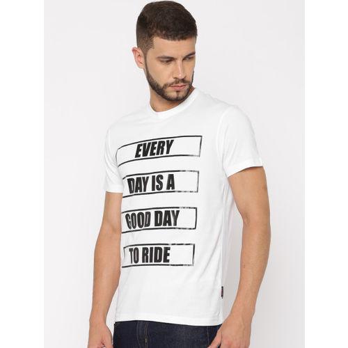 Lee Men White Printed Round Neck T-shirt