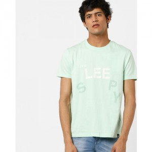 Lee Men Sea Green Printed Slim Fit Round Neck T-shirt