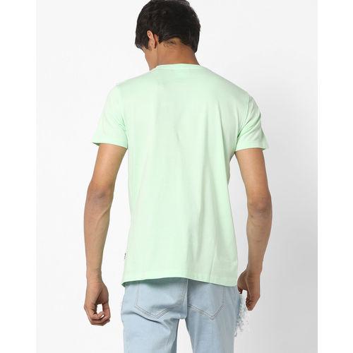 Lee Men Green Printed Round Neck T-shirt