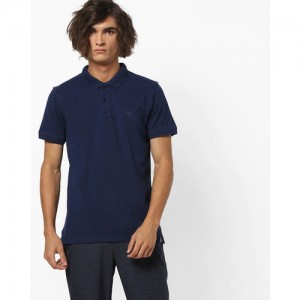 Lee Solid Men Polo Neck Blue T-Shirt